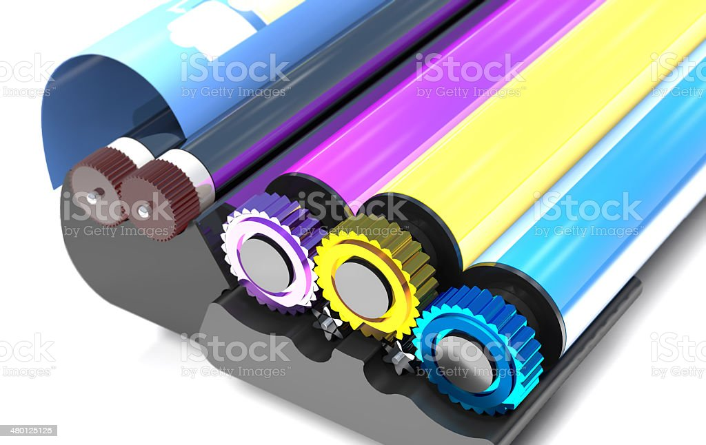 Rollers of printer. stock photo