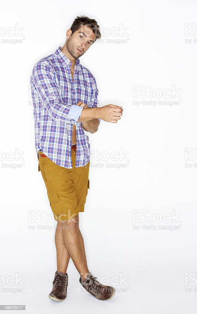 Rolling back his sleeves royalty-free stock photo