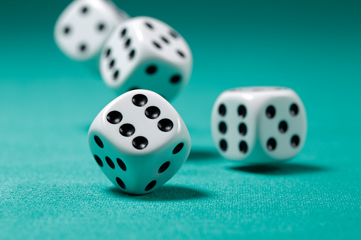 Rolling Dice On Felt Table Stock Photo - Download Image ...