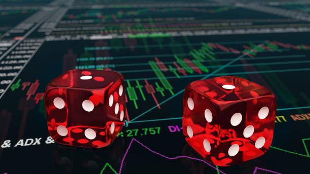 Würfel in den Charts des Aktienhandels rollen und einen bekommen – Foto