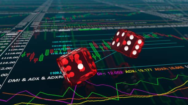 Würfel in den Charts des Aktienhandels – Foto