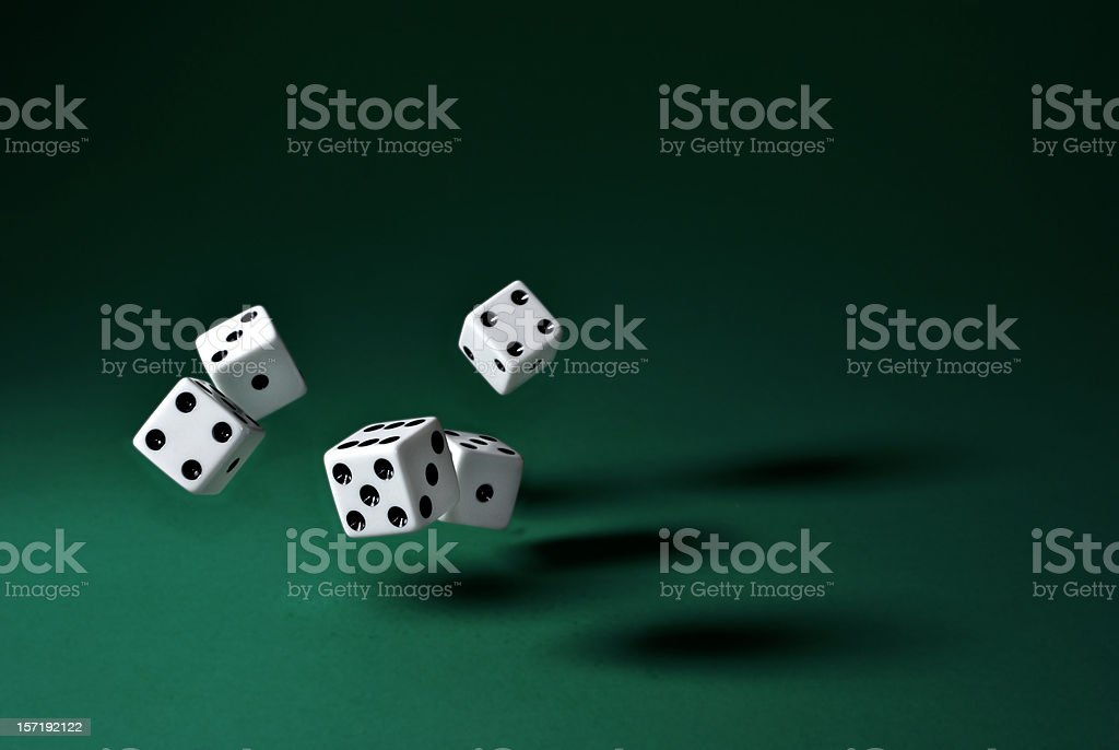 rolling dice(clipping path) stock photo