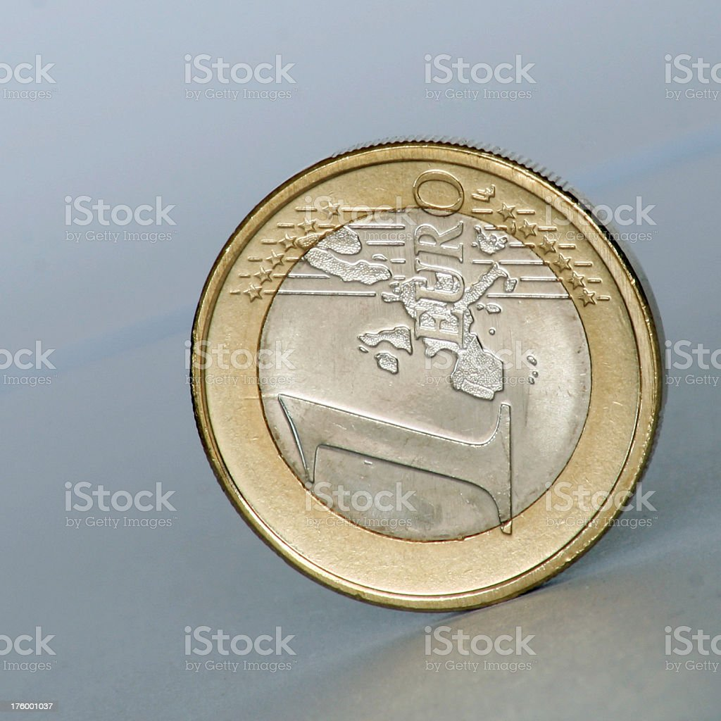 Rolling Euro coin royalty-free stock photo