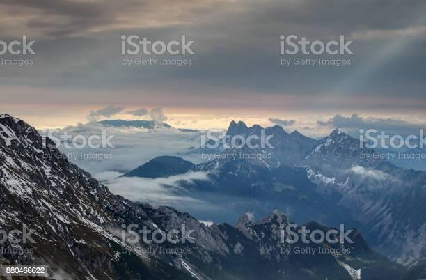 Photo of Rolling fog and sunrays at dawn, Karawanken Karavanke mountains