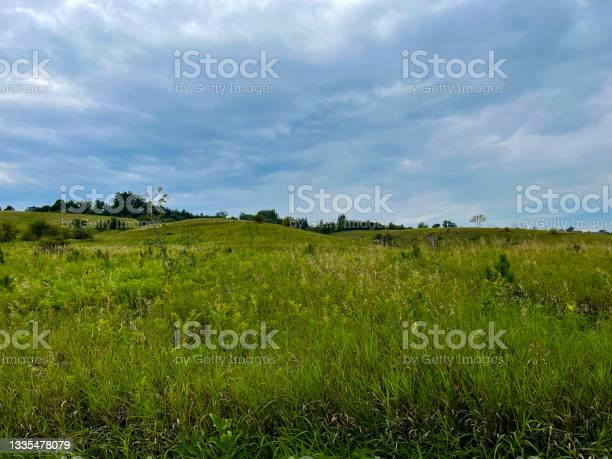 Photo of Rolling hills under a stormy sky