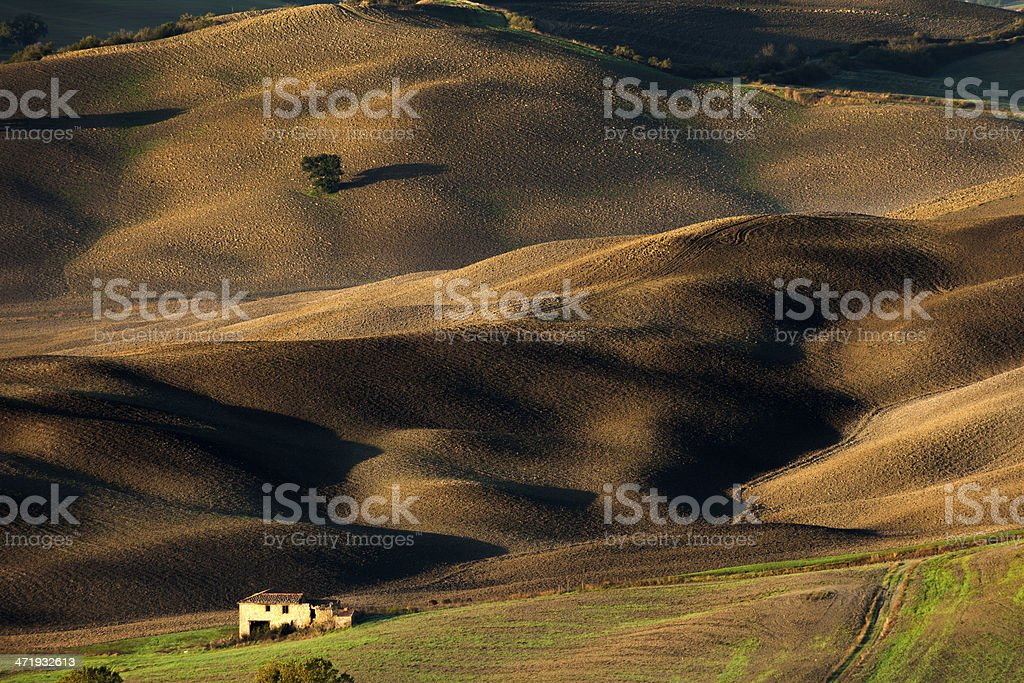Rolling Landscape in Sunset Light, Tuscany, Italy royalty-free stock photo