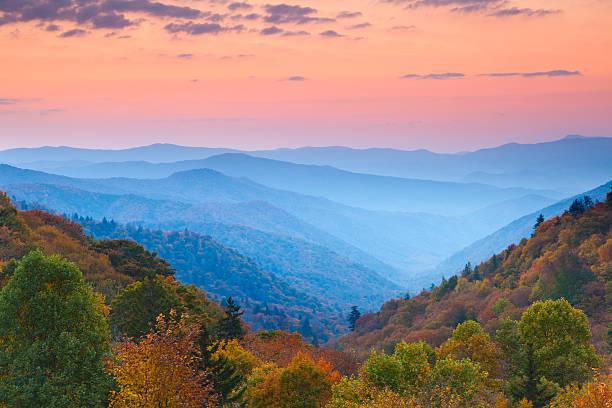 Rolling Mountain Ranges at Sunrise stock photo