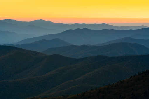 Appalachian Mountains at Sunset, Great Smoky Mountains National Park, Tennessee