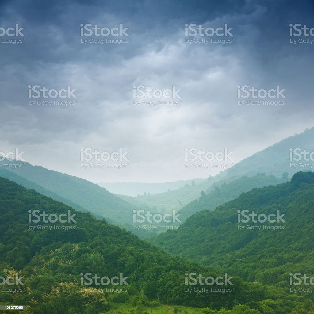 Rolling Mountains with Lush Forests royalty-free stock photo
