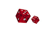 Two rolling red dices on isolated white background