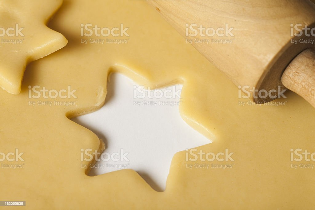 Rolling pin and shortcrust pastry. royalty-free stock photo