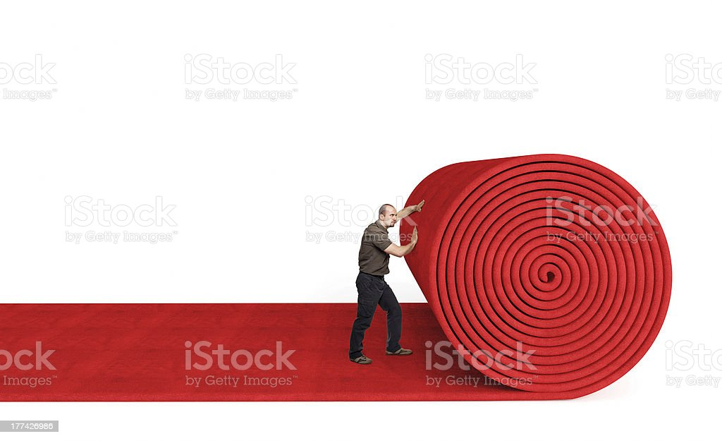 rolling red carpet stock photo