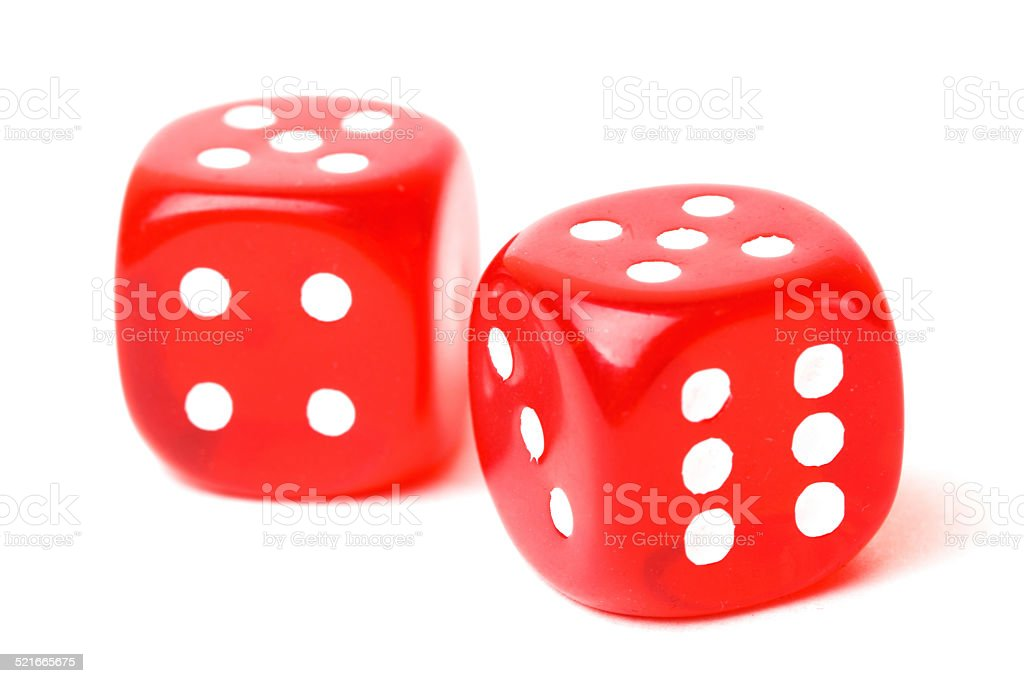 rolling red dice isolated on white stock photo