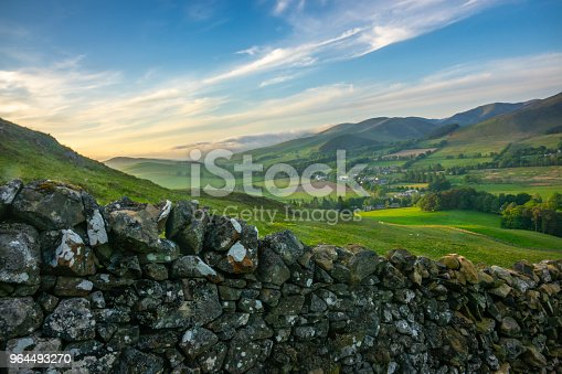 Landscape Of The Beautiful Rolling Scottish Borders Countryside At Sunset