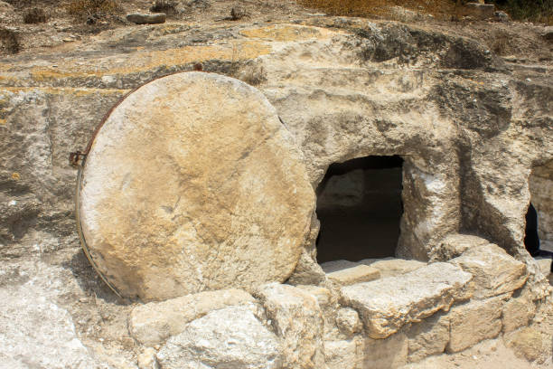 Rolling stone tomb in Israel stock photo