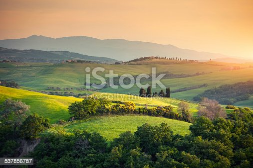 Rolling Tuscany landscape at sunset (Val D'orcia, Italy).