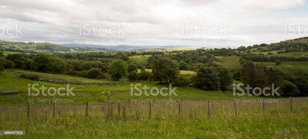 Rolling valleys in springtime under overcast sky stock photo