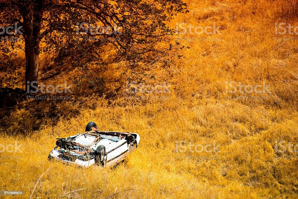 Rollover Crashed Car stock photo