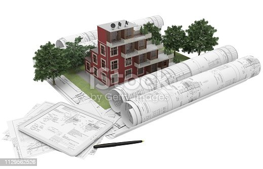 464482634istockphoto Rolls architectural drawings with the tablet computer and house model on a white background. Composition in 3D. 3D illustration. 1129562526