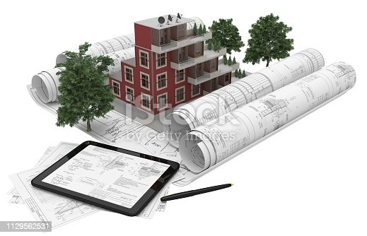 464482634istockphoto Rolls architectural drawings with the tablet computer and house model on a white background. Composition in 3D. 3D illustration. 1129562531