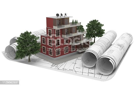 464482634istockphoto Rolls architectural drawings with the tablet computer and house model on a white background. Composition in 3D. 3D illustration. 1129562537