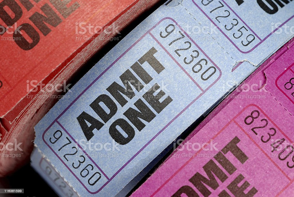 Rolls of admission tickets stock photo