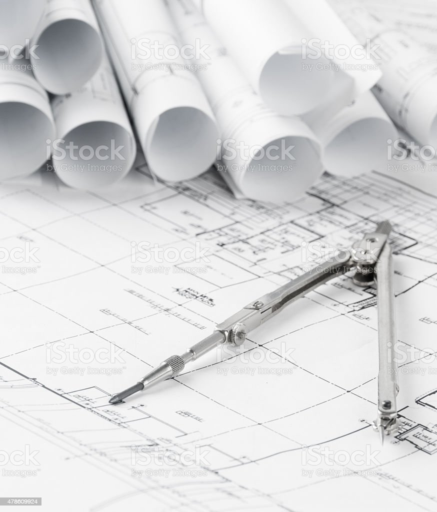 Rolls of architecture blueprints and house plans stock photo istock rolls of architecture blueprints and house plans royalty free stock photo malvernweather Images