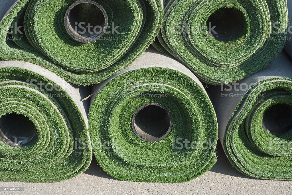 Rolls of Artificial Grass stock photo