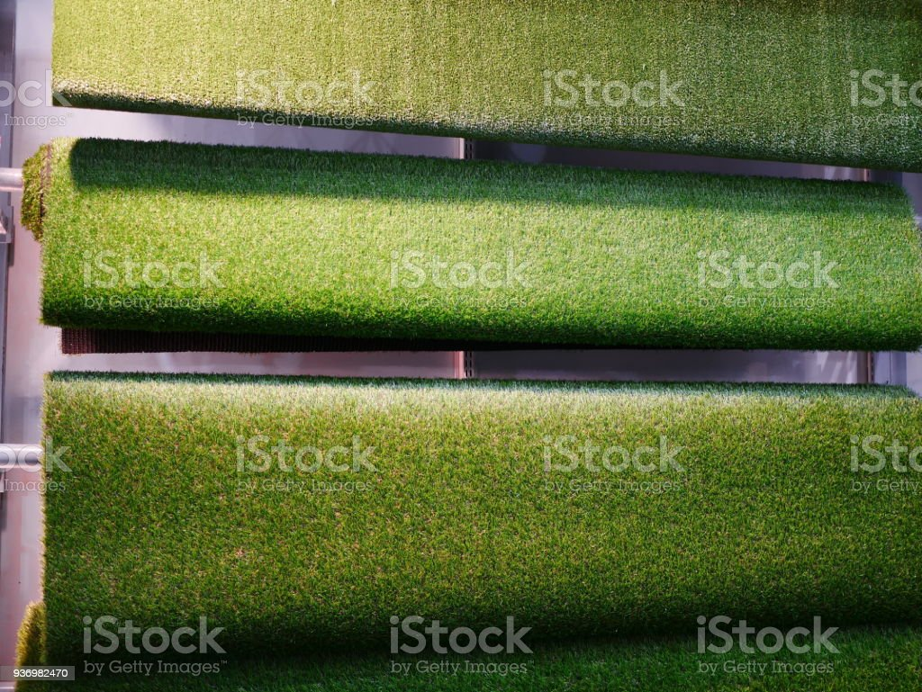 Rolls Of Artificial Grass Stock Photo - Download Image Now