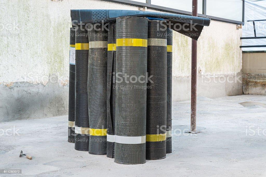 Rolls of bituminous waterproofing membrane stock photo