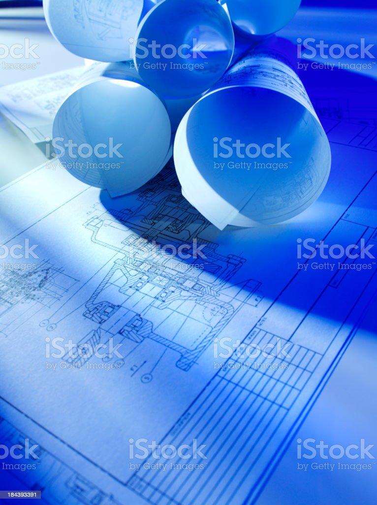 Rolls of Blueprints royalty-free stock photo