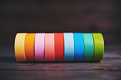 istock Rolls of brightly colored sticky tape 1131514234