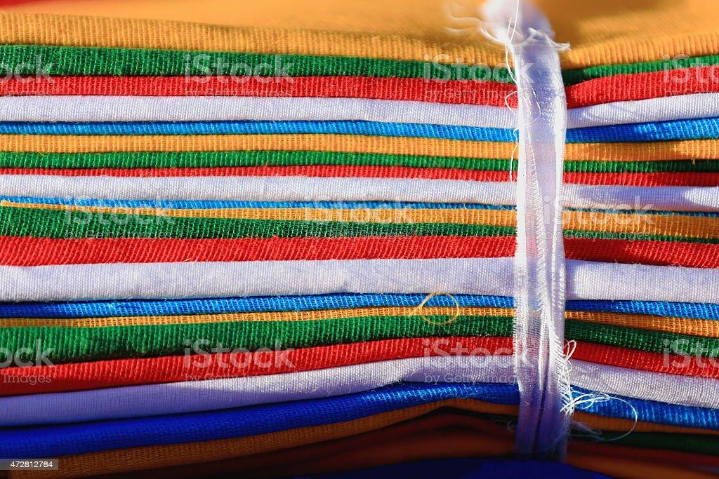 Rolls of buddhist prayer flags. Lhasa-Tibet. 1354 stock photo