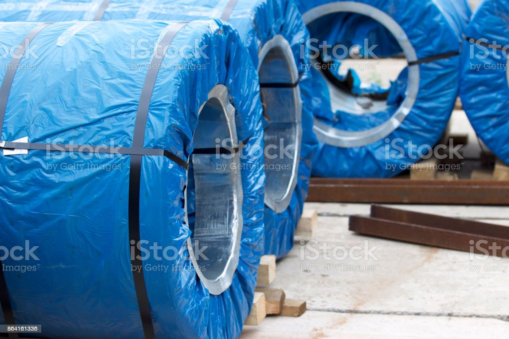 Rolls of cold-rolled galvanized steel with polymer coating royalty-free stock photo