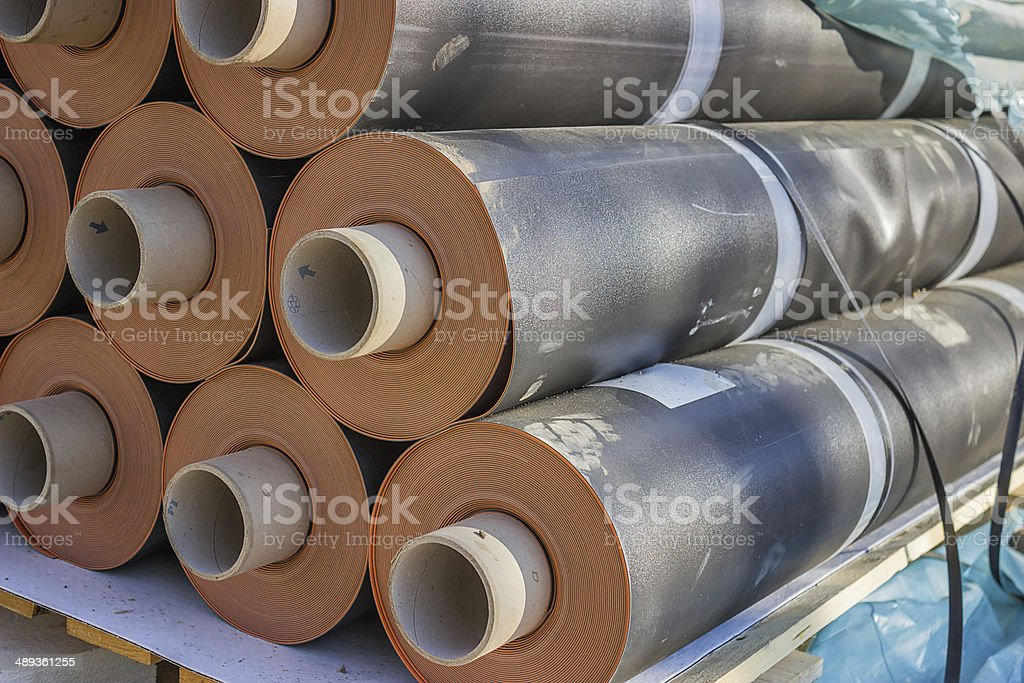 Rolls of insulation material 3 stock photo