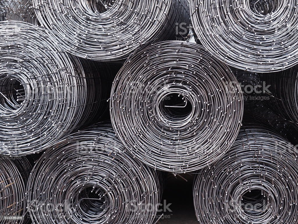 Rolls of iron mesh. stock photo