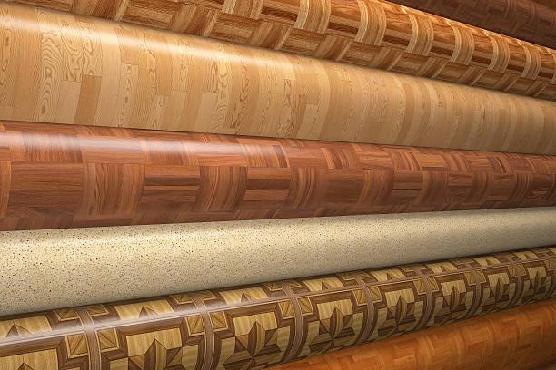 Rolls of linoleum. Rolls of linoleum.3d render. linoleum stock pictures, royalty-free photos & images