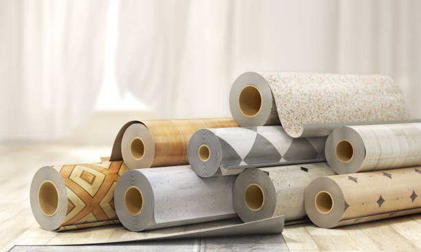 Rolls of linoleum with different texture. 3d illustration Rolls of linoleum with different texture. 3d illustration linoleum stock pictures, royalty-free photos & images