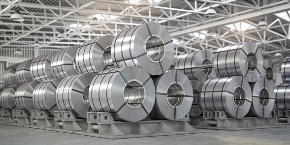 Rolls of metal sheet. Zinc, aluminium or steel sheet rolls on warehouse in factory. 3d illustration