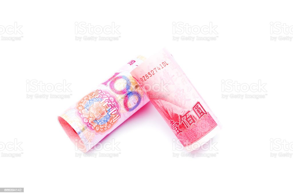 Rolls Of One Hundred New Taiwan Dollar Bill And Chinese Yuan