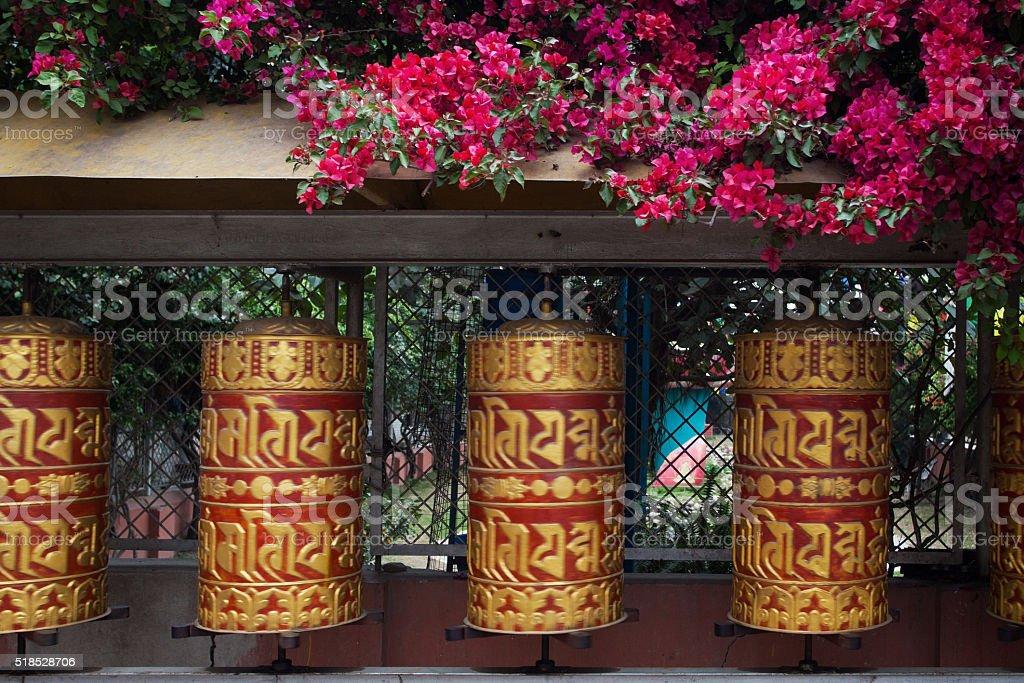Rolls of prayer in Buddhist temples stock photo