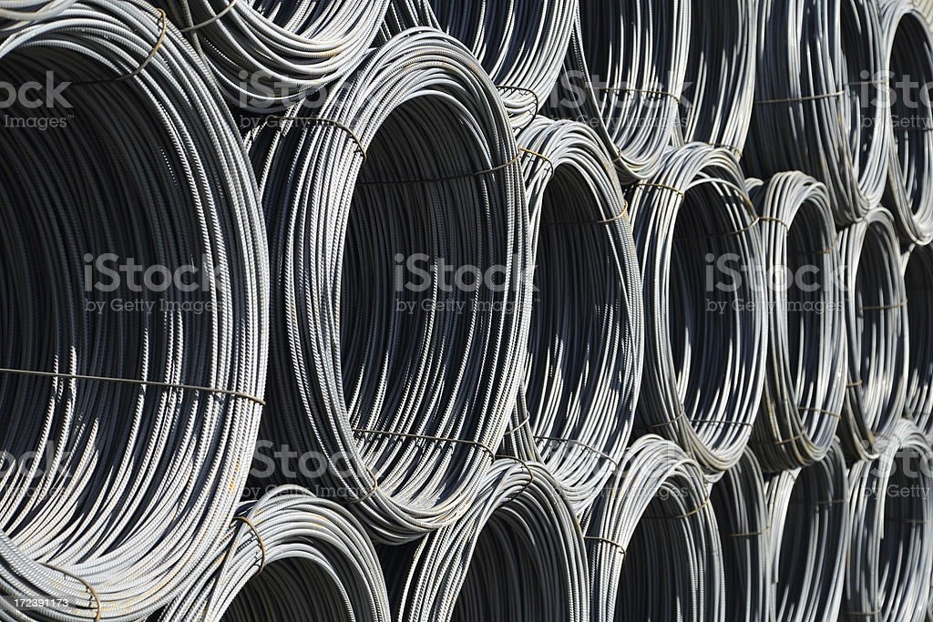 Rolls of reinforcement iron - Rebar royalty-free stock photo