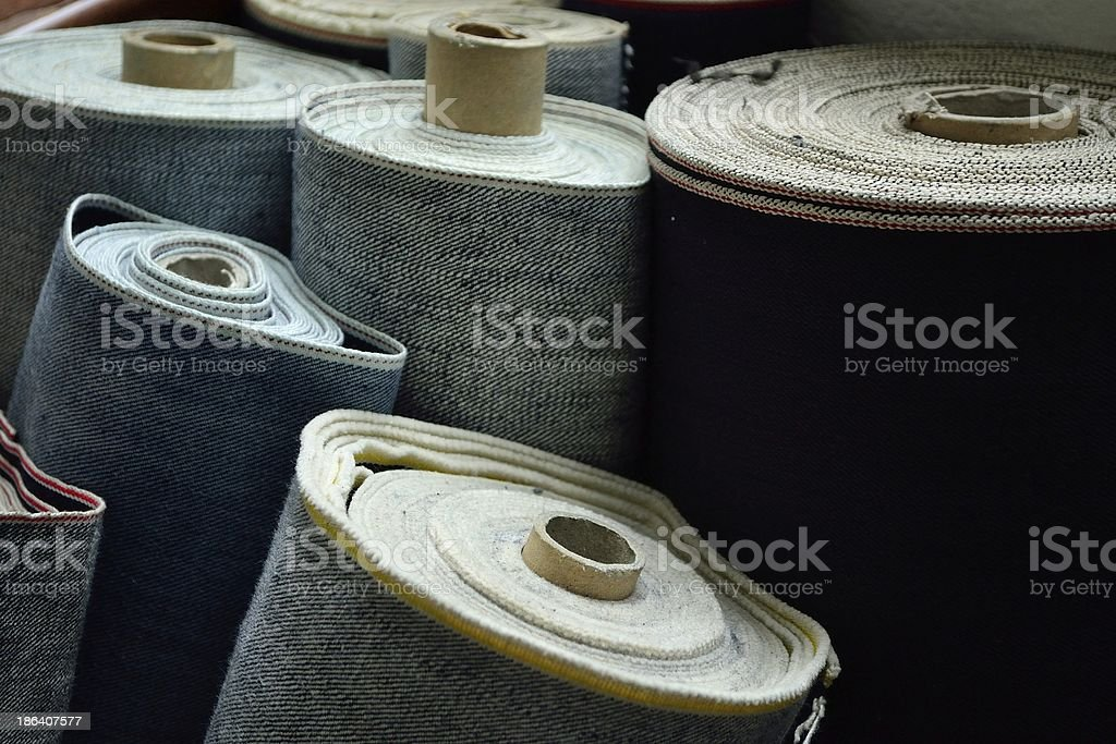 Rolls of selvedge denim stock photo