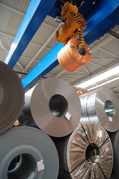 Rolls of sheet steel stock photo