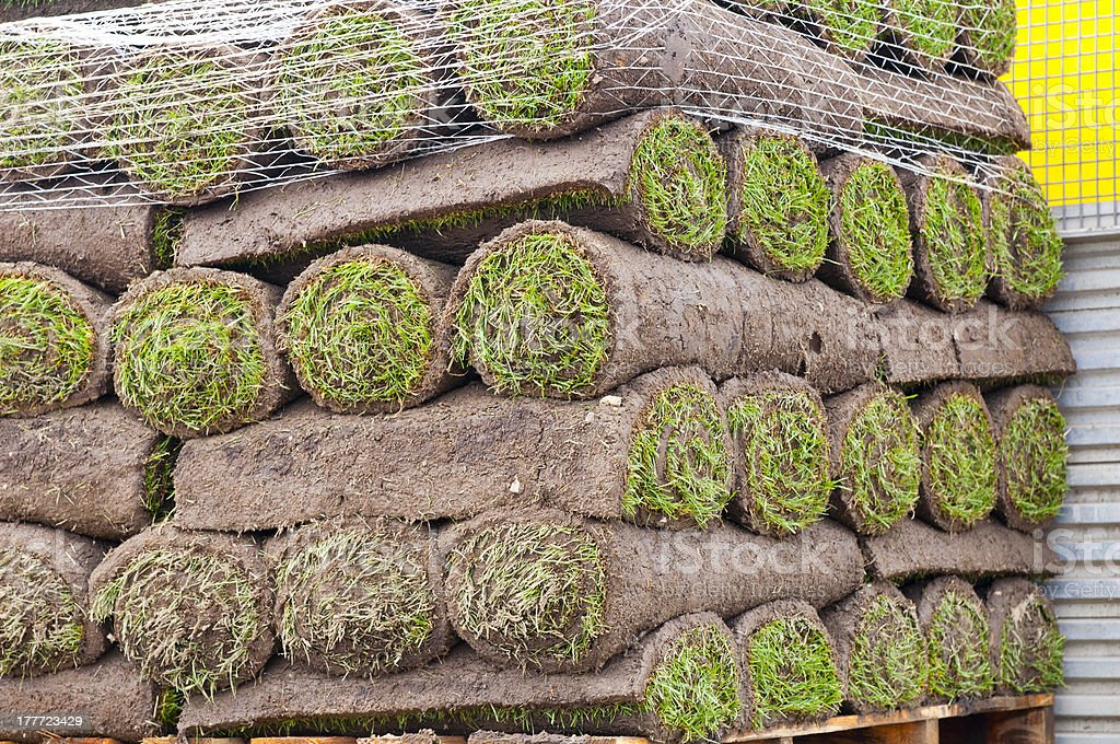 Rolls of sod royalty-free stock photo