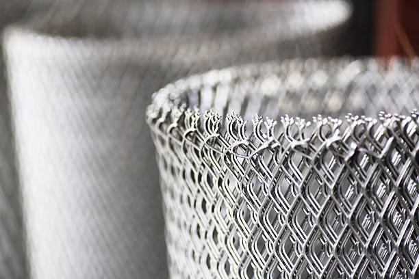 Rolls of  steel wire mesh stock photo