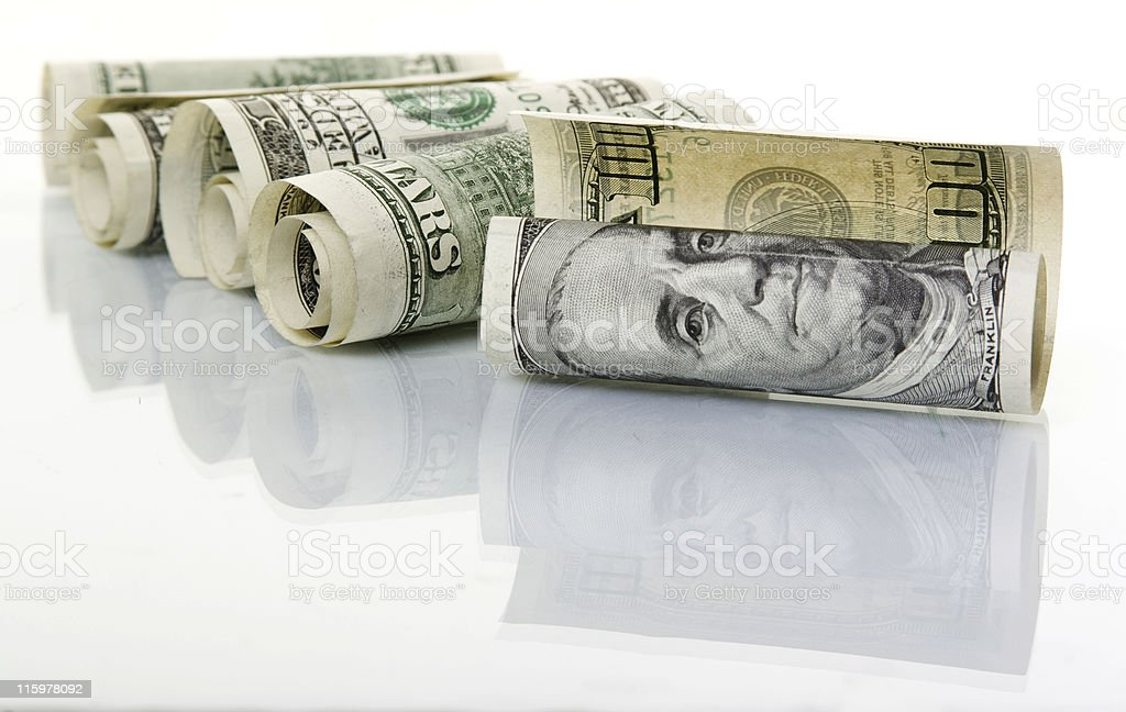 Rolls of United States currency royalty-free stock photo