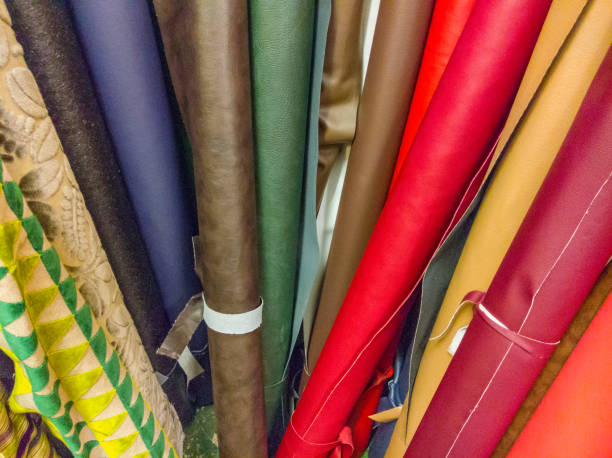 Rolls of varied material and cloth stock photo