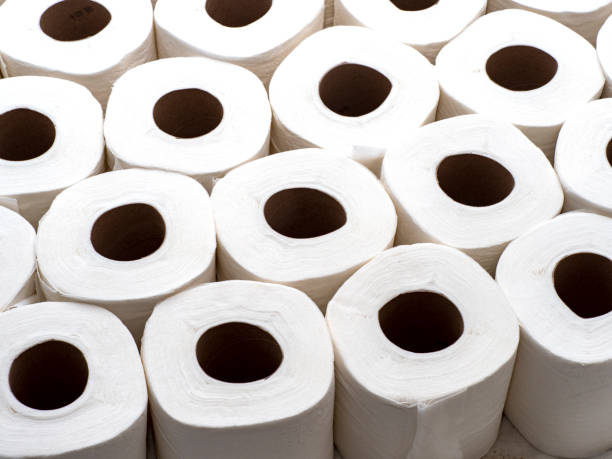 Rolls of White Toilet Paper stock photo