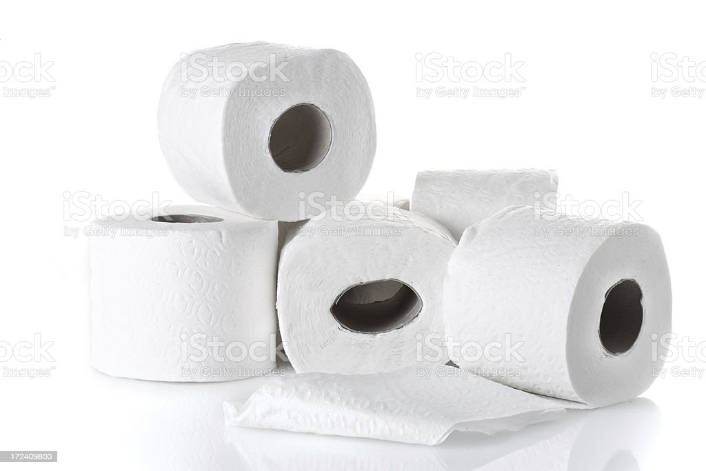 rolls of white toilet paper royalty-free stock photo